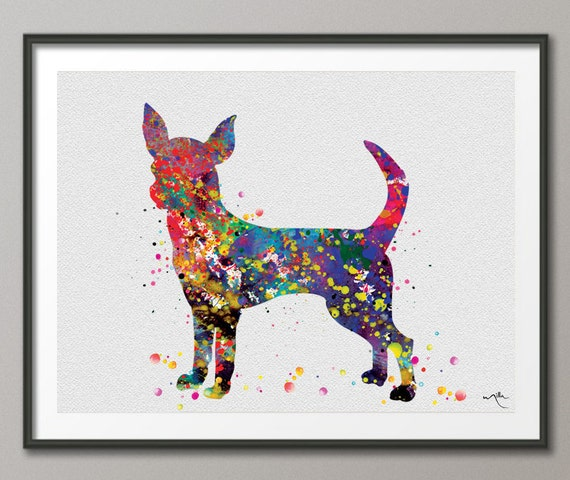 Chihuahua Long Haired Watercolor Print Dog Art Print Pet Gift Dog Lover Puppy