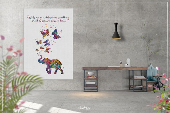 Elephant Motivational Quote Watercolor Print Butterfly Inspirational Wall Art