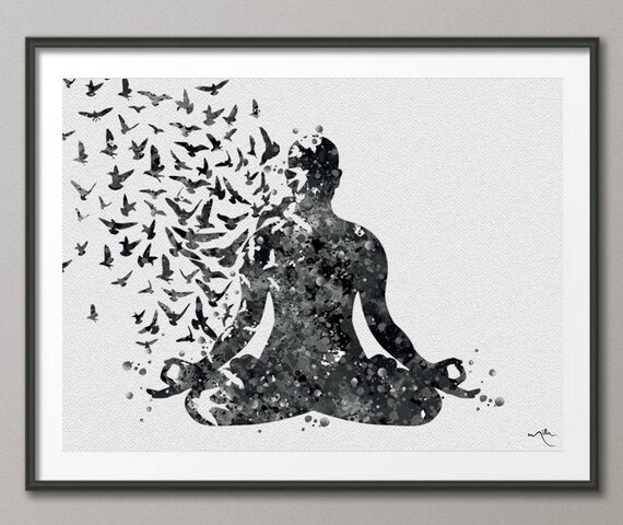 Yoga Decor Zen Yoga Watercolor Print Yoga Print Yoga Warrior Pose Yoga Gift