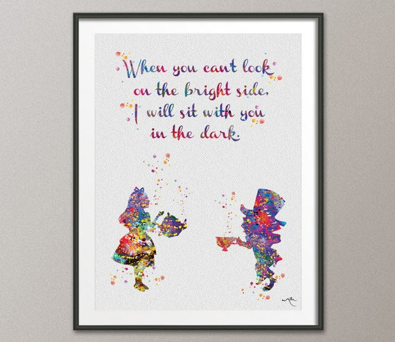Mad Hatter And Alice In Wonderland Quote 3 Watercolor Print Etsy