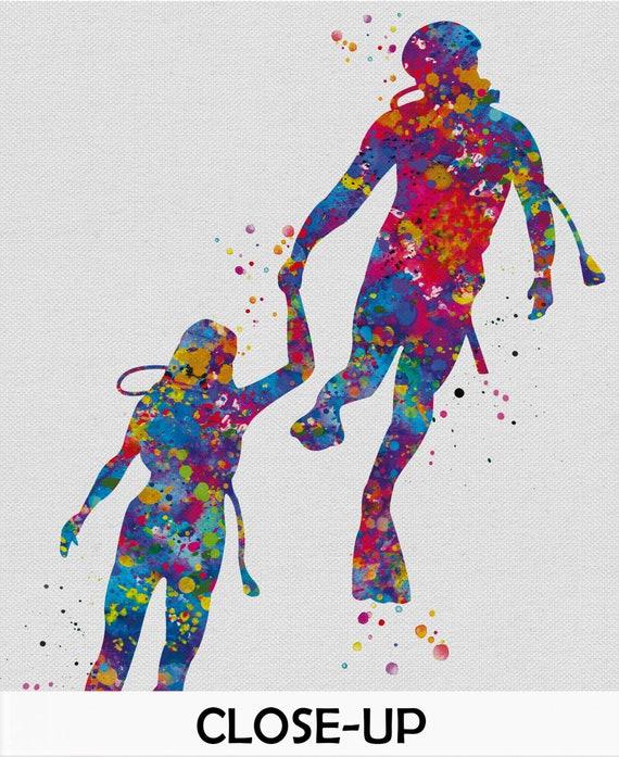 Scuba Couple Love Watercolor Print Divers Sport Gift Scuba Art Print Wall Art