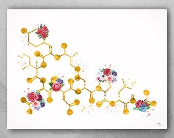 Oxytocin Molecule Floral Gold Watercolor Print Medical Art Love Molecule Symbol Wall Art Nerd Art Science Art Biology Chemistry Science-1528