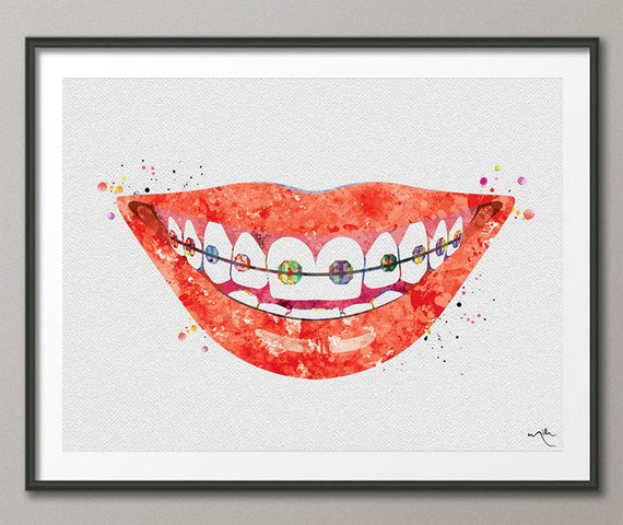 Smiling Mouth Dentist Art Watercolor Print Tooth Teeth Dental Office Clinic Gift