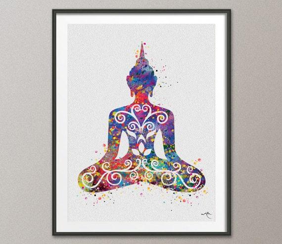 Buddha Floral med Yoga Pose Watercolor illustrations Print Wall Decor Art