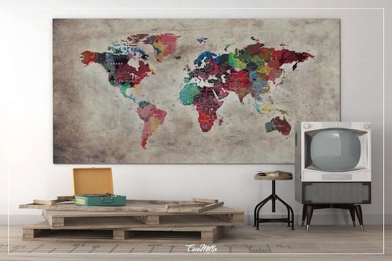 World Map Push Pin Large world map CANVAS Print Map | Etsy