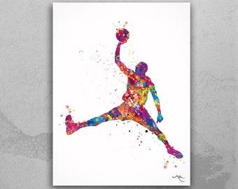 Basketball Watercolor Print Jumpman Basketball Sport Wall Art NBA Poster Giclee Wall Decor Art Geek Nerd Sports Basketball Wall Hanging-611