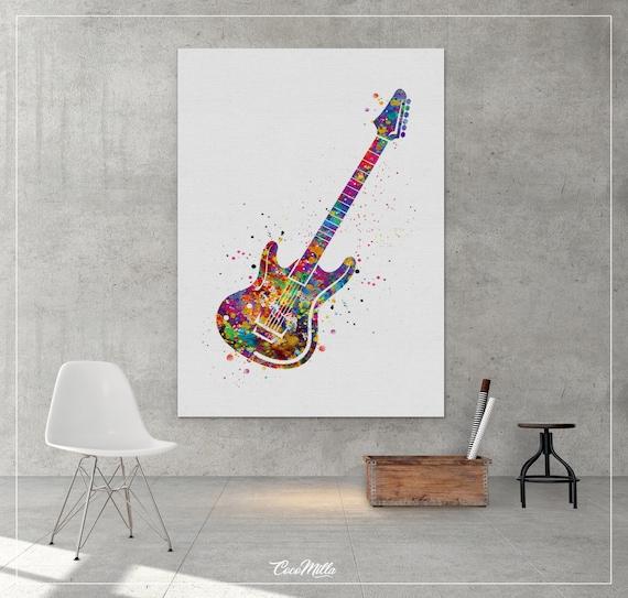 Electric Guitar Music Instrument Watercolor Art Print Wall Art Poster Dorm Decor