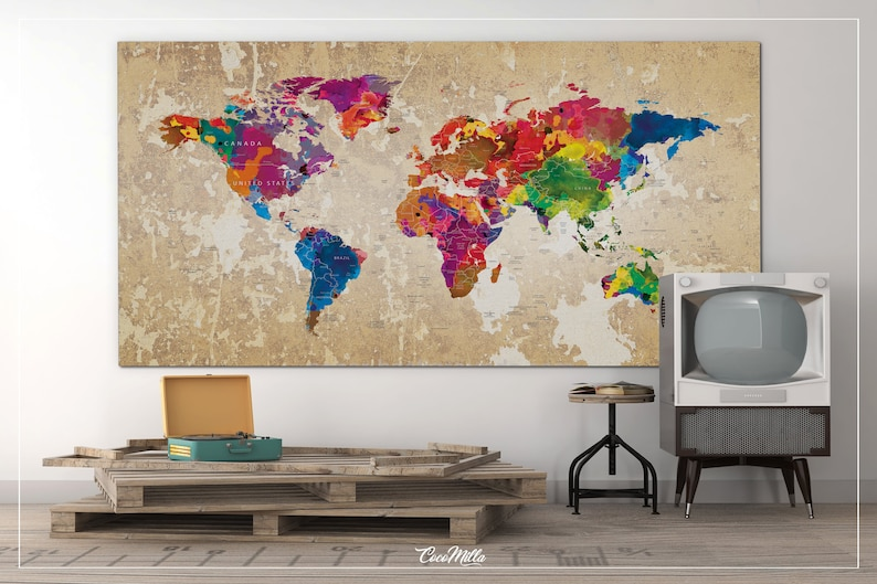 World Map Push Pin Large World Map CANVAS Print Map Travel Gift Rustic Old  Watercolor World Map Wall Decor Large World Map Christmas-1106