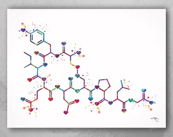 Oxytocin LOVE Molecule Heart Watercolor Print Medical Art Love Molecule Symbol Wall Art Nerd Art Science Art Biology Chemistry Science-1531