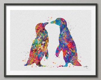 Penguin Watercolor Print, Wedding Gift, Animal Print, Nursery Decor, Wall Art, Animal Wall Decor, Animal Decor, Wall Hanging, Penguins-402