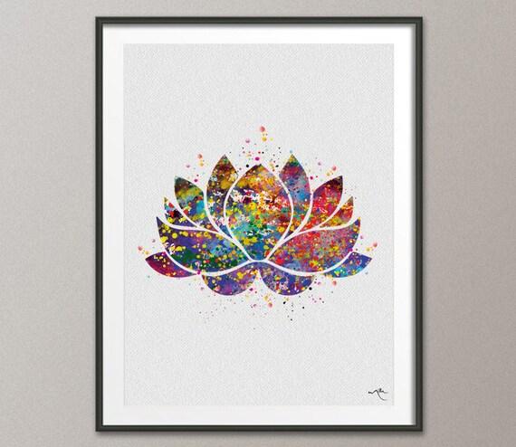 Lotus Flower Yoga Symbol Watercolor Print Illustrations Art Etsy