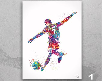 Soccer Player Personelized Watercolor Print Male Football Gift Soccer Player Boy Soccer Man Personalized Gift Customize Gift Wall Art-2299