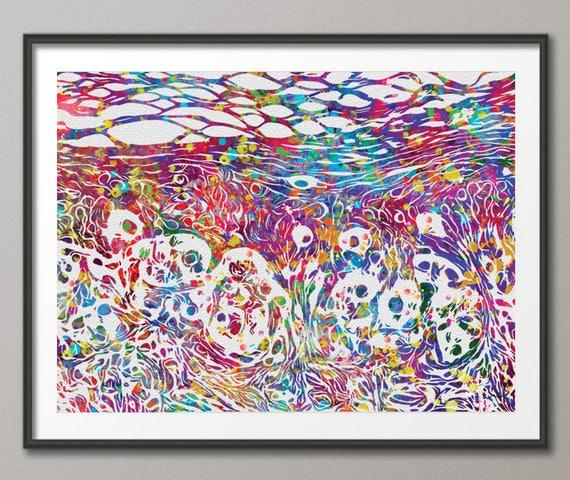 Skin Melanoma Histology Watercolor Print Medical Art Science   Etsy