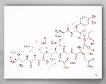 Oxytocin Molecule Watercolor Print Medical Art Love Molecule Love Symbol Wall Art Nerd Art Science Art Biology Chemistry Science Decor-1089
