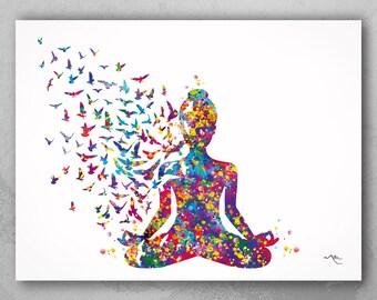 Yoga Art, Yogi, Yoga Poster, Yoga Pose, Yoga Print, Yoga Woman Watercolor, Yoga Studio, Sukhasana Pose, Yoga Wall Decor, Yoga Gift, Yoga-899