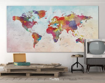 World Map, Watercolor World Map, Push Pin World Map, Extra Large World Map, Push Pin Travel Map, Wall Decor, Wall Hanging, Wanderlust-855