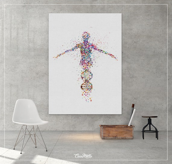 DNA Human Watercolor CANVAS print dna art Wall Art Nurse Gift | Etsy