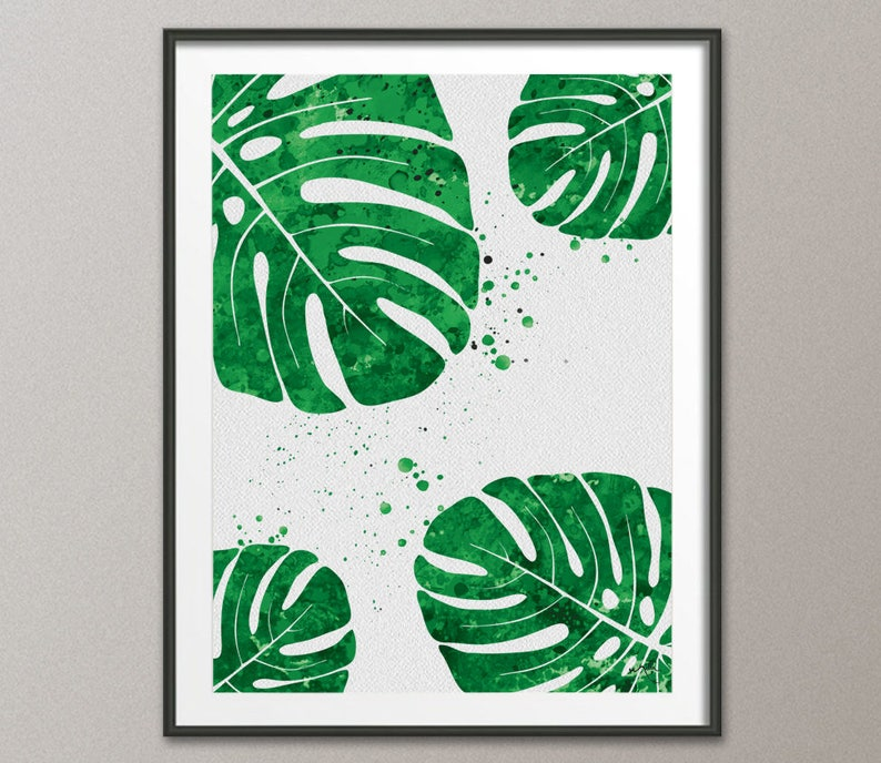 tropical home decor uk monstera leaf watercolor print tropical wall art wedding gift etsy  monstera leaf watercolor print tropical