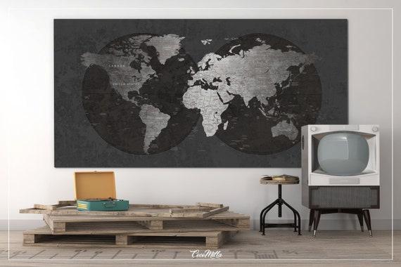 World Map CANVAS Print Extra Large World Art Push Pin Travel | Etsy