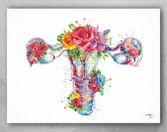 Uterus Anatomy Flowers Watercolor Print Floral Female Reproductive System Gynecology Clinic Decor Graduaiton Gift OBGYN Pregnancy Gift-2062