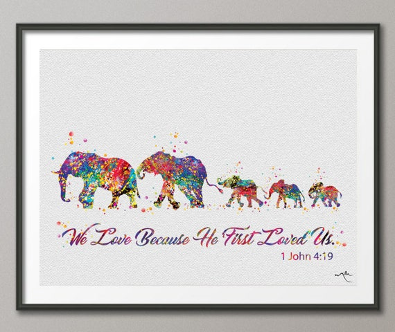 Elephant Family Mom Dad And Babies Family Bible Love Quote Art Etsy