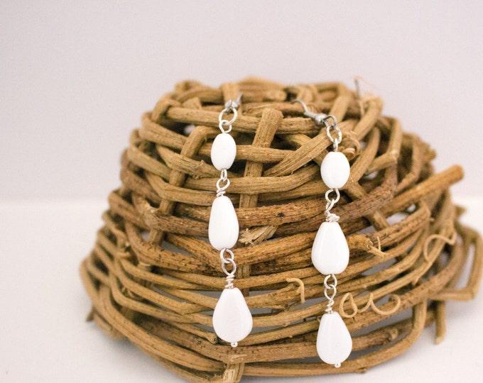 White Glass Bead Dangle Earrings