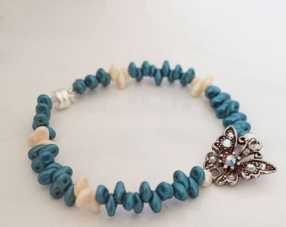 Blue Iris & Ivory Super Duo Bead Butterfly Bracelet, Casual Minimal, Gift Idea