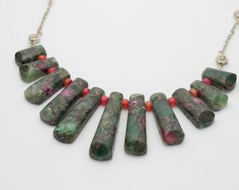 Graduated Purple Pyrite Fluorite Sea Jasper Gemstone Pendant Necklace