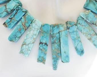 Ocean Blue Impression Jasper Gemstone Stick Necklace