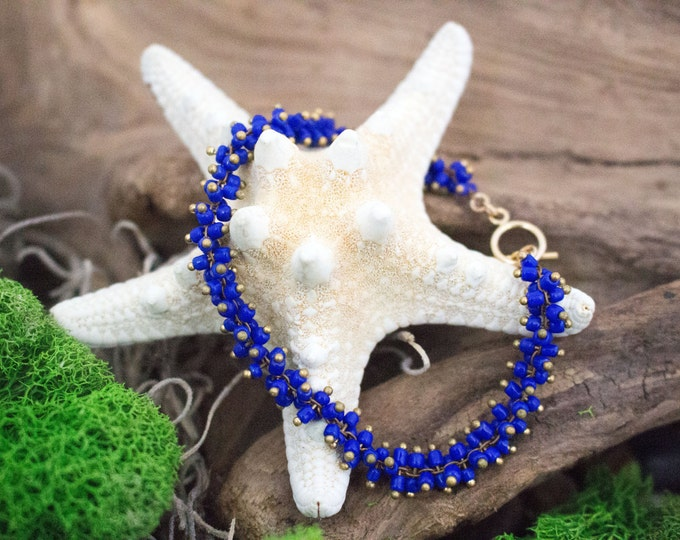 Cobalt Blue Bead Bracelet, Simple Modern Everyday Bracelet