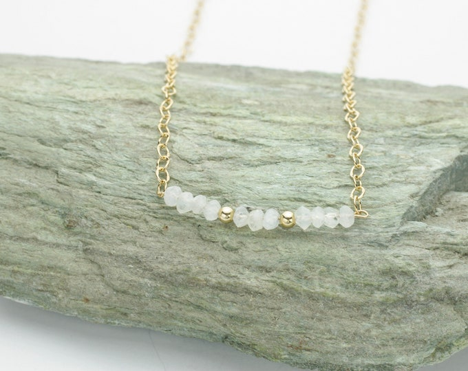 Gold Rainbow Moonstone Gemstone Necklace