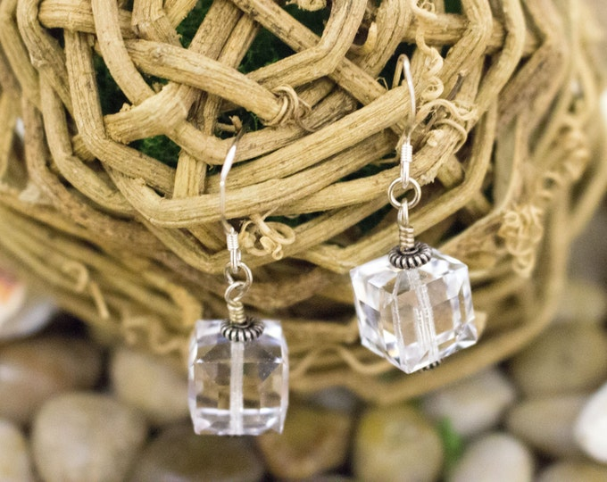 Square Clear Crystal Drop Earrings