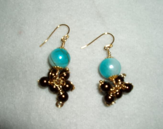 Blue Hand Painted Oriental Bead Dangle Earrings