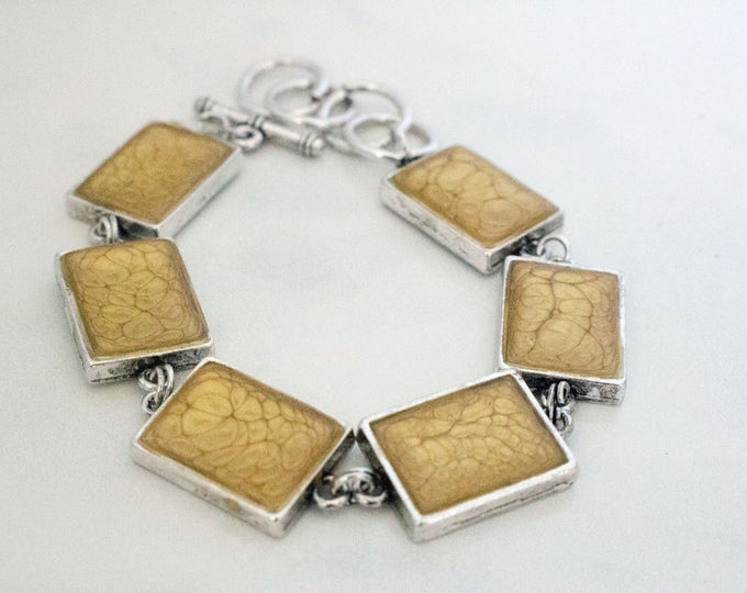 Gold Prism Fantasy Paint Filled Bezel Cup Silver Bracelet