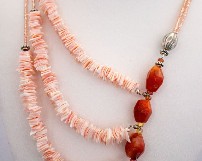 Orange Agate & Peach Shell Chip Statement Necklace