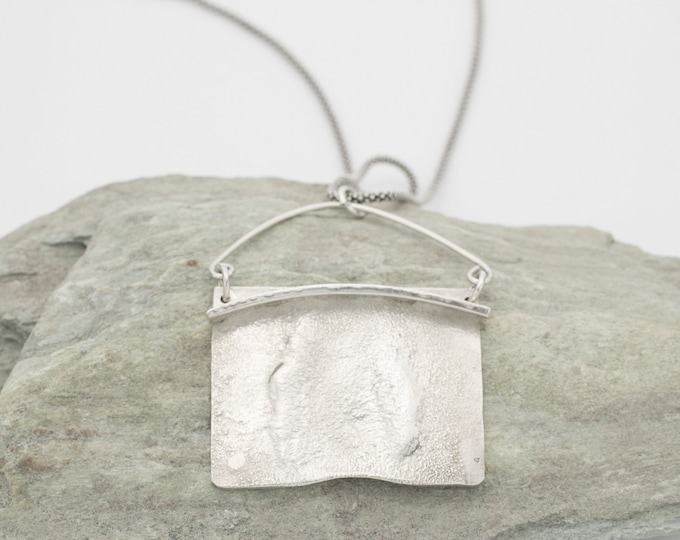 Sterling Silver Reticulated  Pendant Necklace
