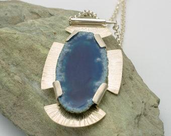 Blue Druzy Quartz Slab & Sterling Silver Pendant