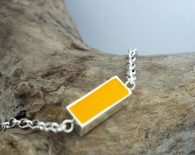 Yellow Hand Painted Rectangle Bezel & Chain Bracelet