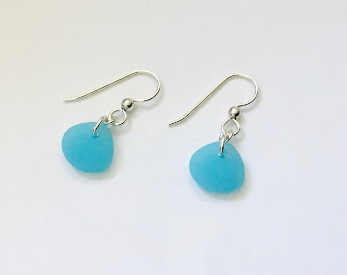 Opal Blue Recycled Glass &  Sterling Silver Drop Earrings