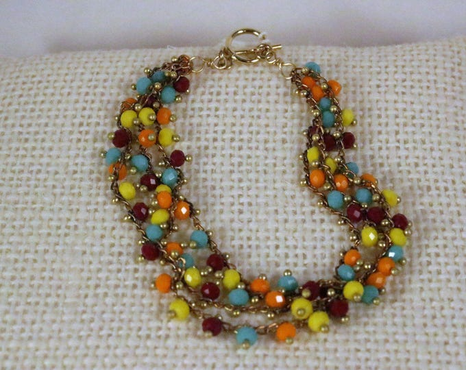 Multi Colour Small  Bead Gold Toggle Bracelet, Modern Everyday Jewelry