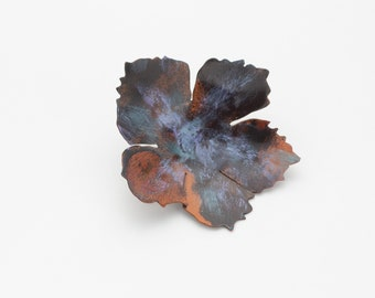 Copper Patina Flower Brooch  Scarf Pin