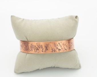 Black Wax Patina & Textured Copper Cuff Bracelet, Gift Idea