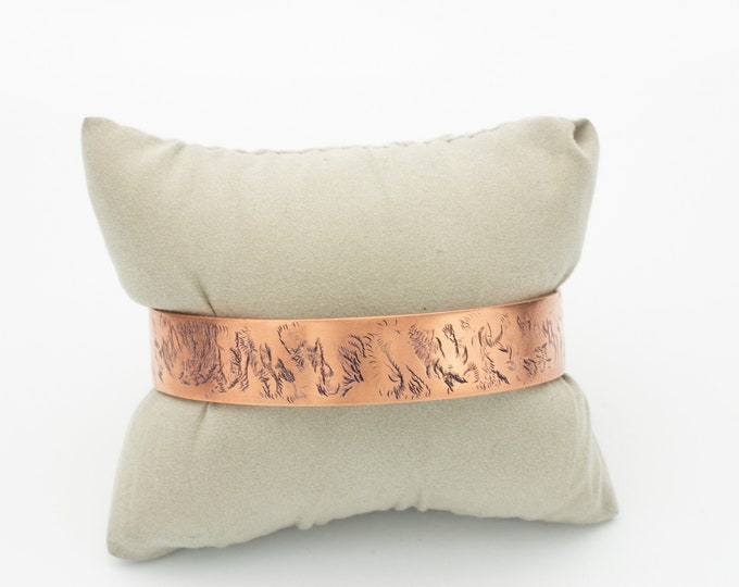 Black Wax Patina & Textured Copper Cuff Bracelet, Gift Idea