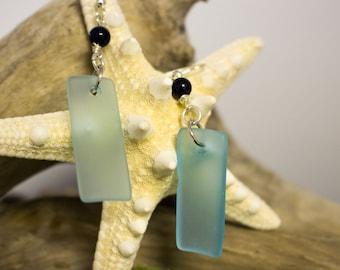 Recycled Blue Sea Glass Dangle Earrings