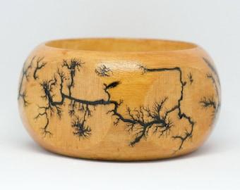 Octagon Fractal Lichtenberg Etched Wood Bracelet