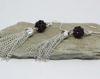 Black Crystal Bead & Silver Chain Tassel Earring