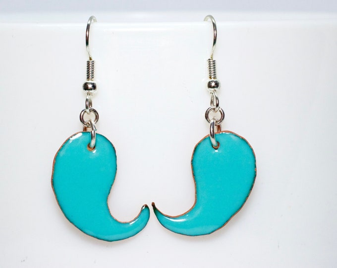 Boho Turquoise Enameled Copper Dangle Earrings, Minimalist Earrings