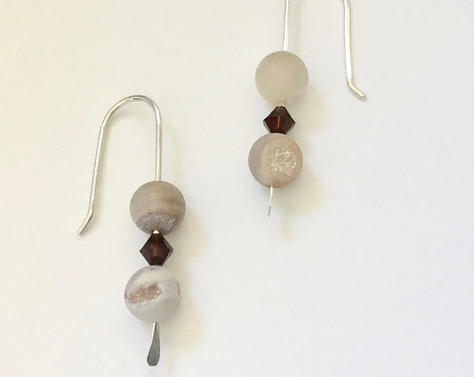 Dakota Natural Druzy Agate & Mocha Swarovski Crystal Bead Earrings