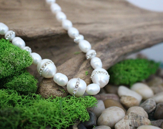 Freshwater Pearl & Rhinestone Sterling Silver Bridal Necklace