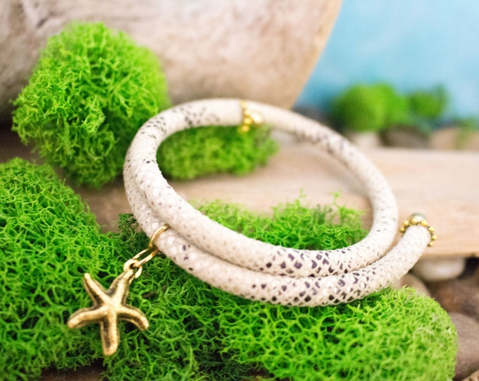 Leather Snake Skin Wrap Bracelet
